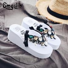 купить Woman Slippers Lady Fashion Casual Beach Flip-flops Sandals Women Sexy High Heel Slippers 2019 Summer Comfortable Crystal Shoes по цене 970.14 рублей