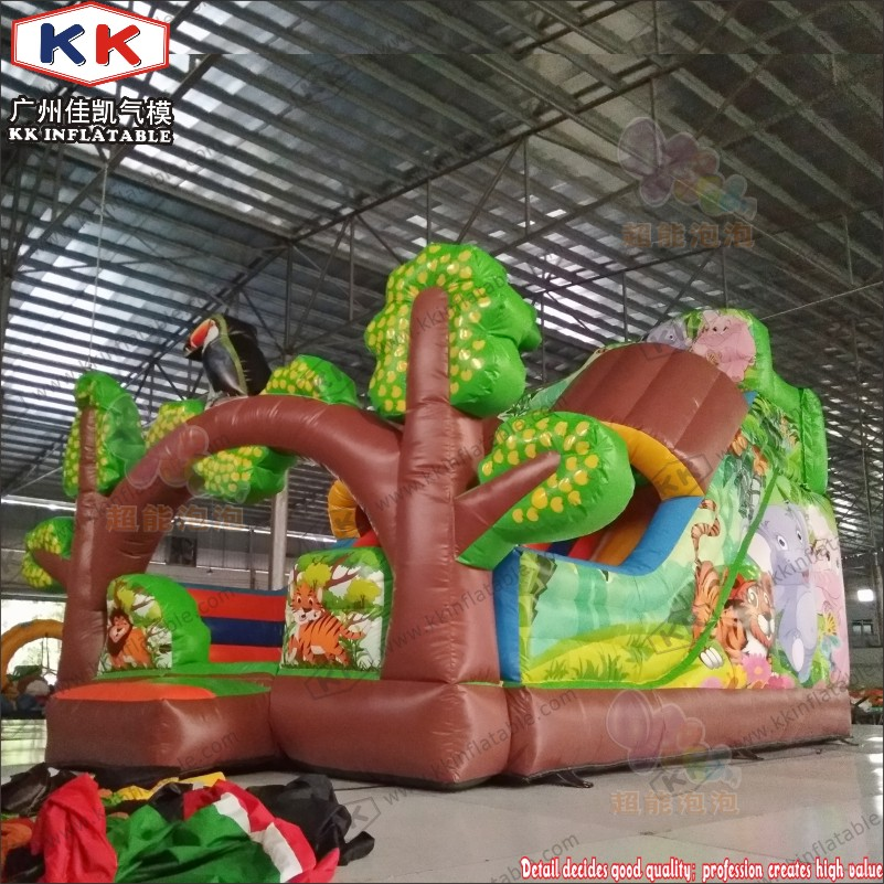 Forest Theme Inflatable Dry Slide Bouncer Slide With Double Lane Inflatable Slide For Sale