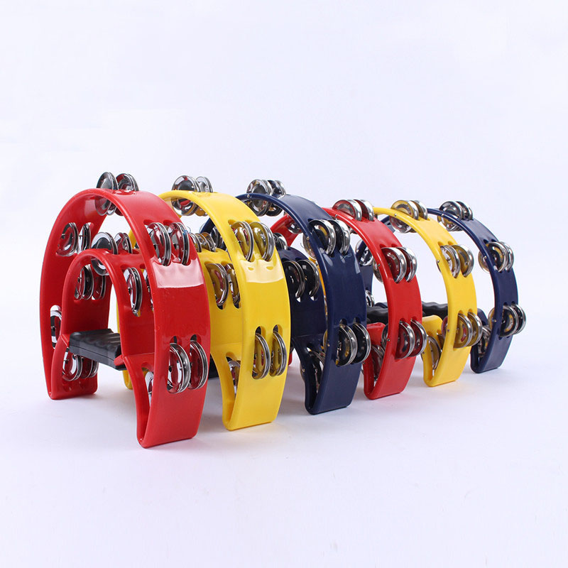 1 Pcs KTV Hand Bell Double Bells Ring Adult Percussion Plastic Tambourine Large Double Flower Drum Circle Half A Bell