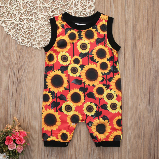 9b15466130919 2017 Toddler Kids Baby Girls Clothes Summer Sunflower Sleeveless Cotton  Romper Jumpsuit Playsuit Outfit Clothes New Arrival