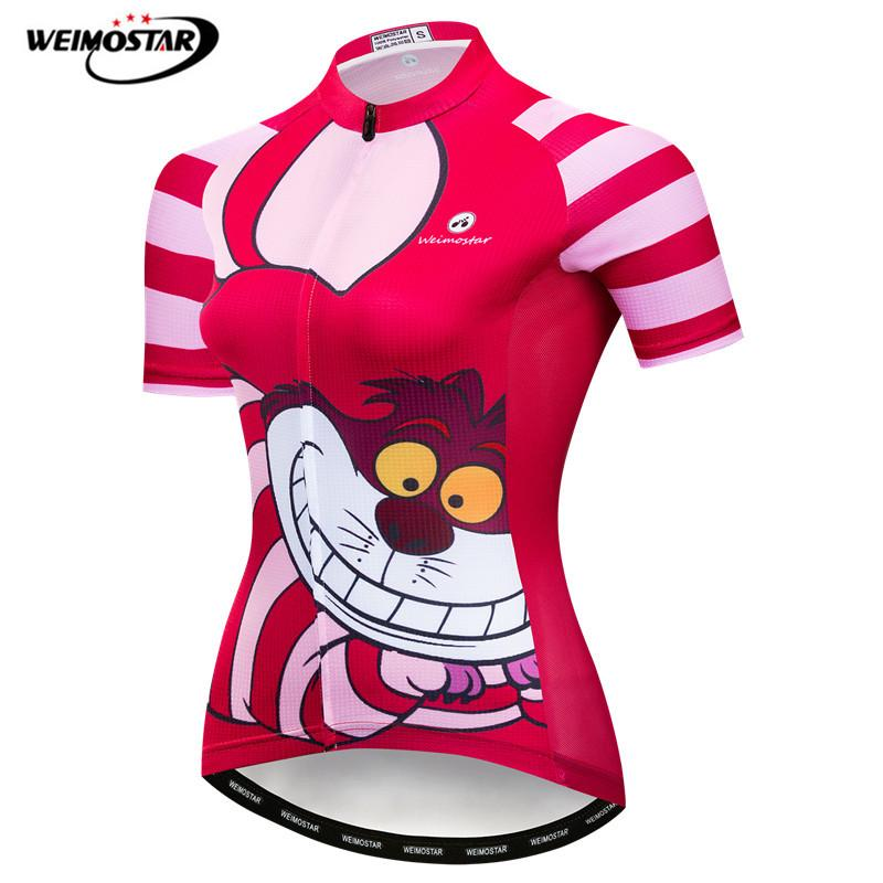 Weimostar Funny Red Cycling Jersey Women Breathable Cartoon Cycling Wear Quick Dry Bicycle Shirt Summer Wicking MTB Bike JerseyWeimostar Funny Red Cycling Jersey Women Breathable Cartoon Cycling Wear Quick Dry Bicycle Shirt Summer Wicking MTB Bike Jersey