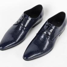 5d53dbbe4 جلد طبيعي وأشار اصبع القدم الكلاسيكية الرجال اللباس أكسفورد أزياء رجالي  الدانتيل متابعة الرسمي أحذية شقة أحذية الزفاف الأزرق الأ.