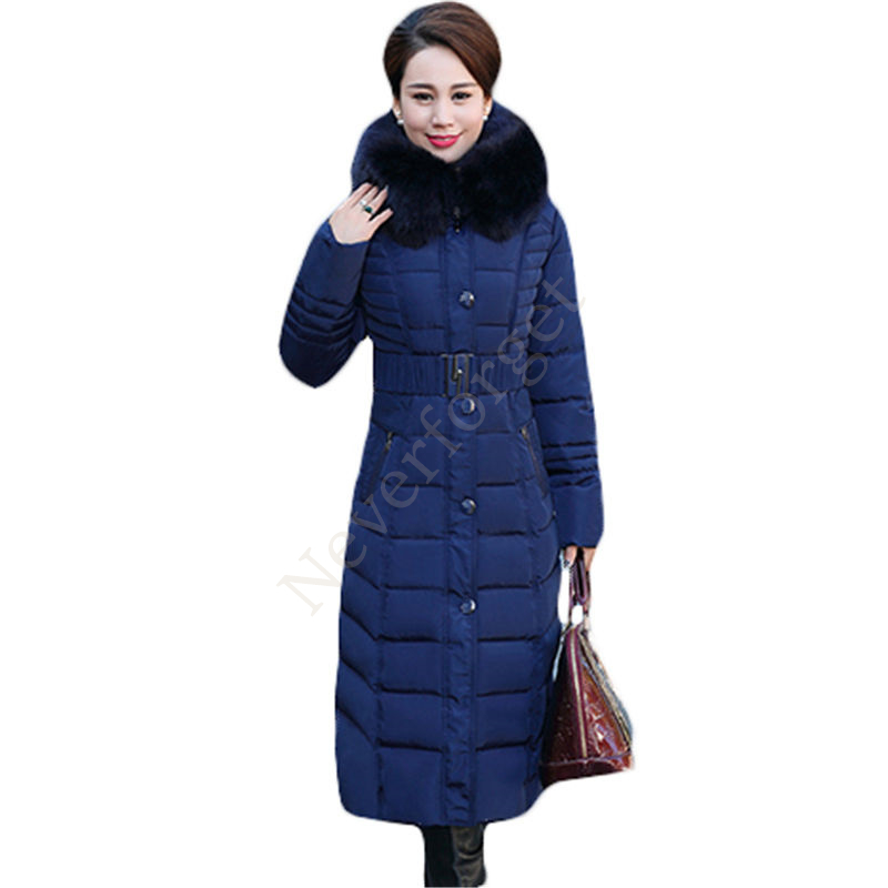 2017 Winter Coat Women Thick Warm X Long Parka Fashion Middle-Aged Mother Large Size Womens Fur Collar Hooded Cotton Jacket L605 xl 5xl winter coat women plus size middle aged mother cotton padded clothes casual hooded solid long sleeve parka thick a4263