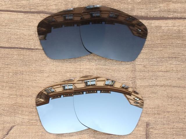 0e90de11eaf Black Grey   Chrome Silver 2 Pairs Polarized Replacement Lenses For Sliver  Sunglasses Frame 100%