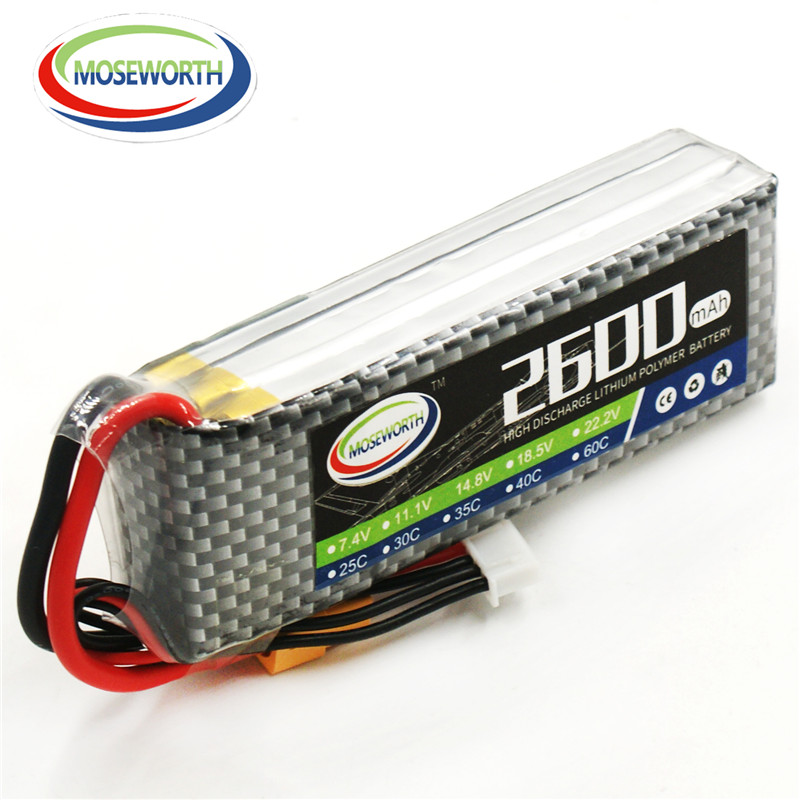 MOSEWORTH 4S RC Lipo Battery 14.8v 2600mAh 35C For RC Aircraft Quadcopter Drone Boat Car Helicopt Airplane Li-ion Battery 4S 1s 2s 3s 4s 5s 6s 7s 8s lipo battery balance connector for rc model battery esc