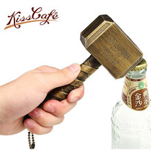 Beer Bottle Openers Hammer of Thor Shaped Opener Wine Beer Soda Glass Cap Bottle Opener Kitchen Bar Gift Zinc Alloy 100pcs 3colors key shaped bottle openers beer wine bottle opener keychain ring open bar wedding party decoration label hemp rope