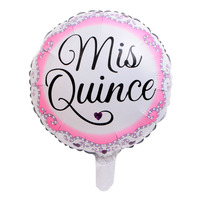 50pcs/lot 18inch Mis Quince Aluminum Foil Pink Helium Balloons Spanish My Fifteen Girl 15th Birthday Party Celebration Decorate