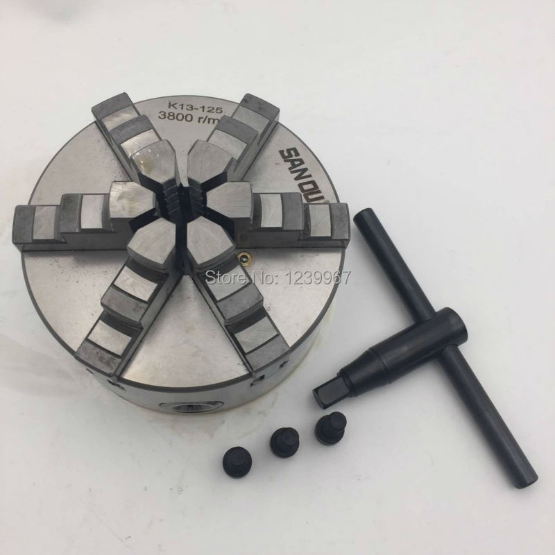 Lathe Chuck 6Jaw 125mm Self-Centering Six Jaw 5'' Chuck M8 for CNC Milling Lathe Machine K13-125