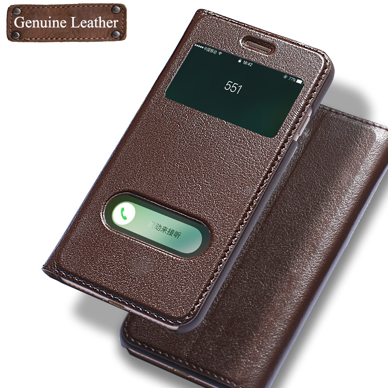 bilder für Luxus Echtes Leder-kasten-schlag-abdeckung Fall Für iPhone 7 Fenster Telefon anzeigen Mit Magnetschnalle Coque Fundas Für iPhone 7 Plus