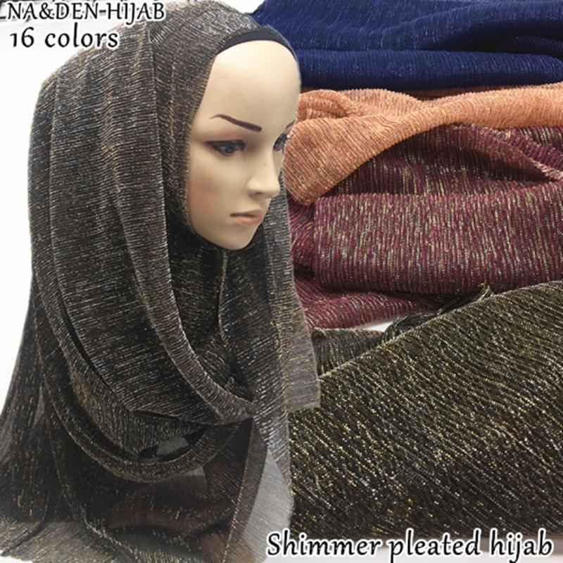Hot Sale pleated shimmer hijab scarf Fashion shiny wrinkle Plain women scarves shawl lady pashmina bandana