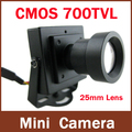 Alta Resolución CMOS 700TVL 25mm Lente Caja de Color Mini Cámara de Interior del CCTV de Seguridad de Larga distancia