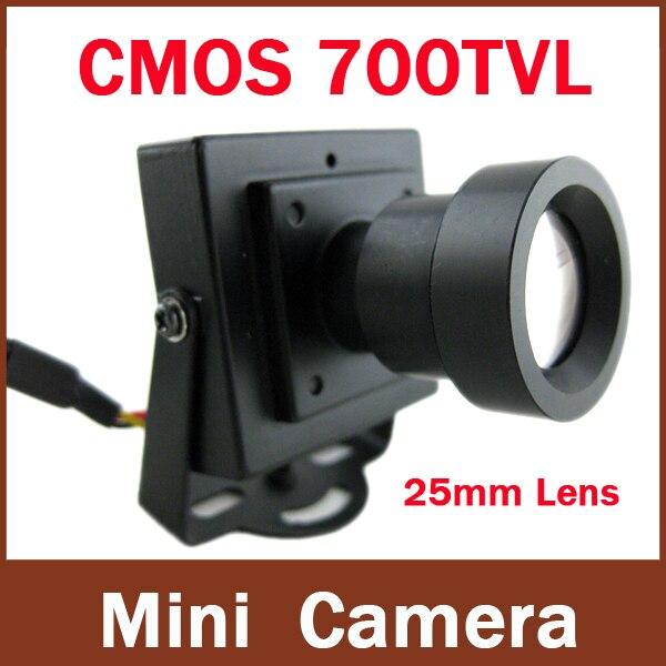 Высокое разрешение CMOS 700TVL 25 мм объектив дальние безопасности Коробка Цвет Мини Крытый CCTV камера