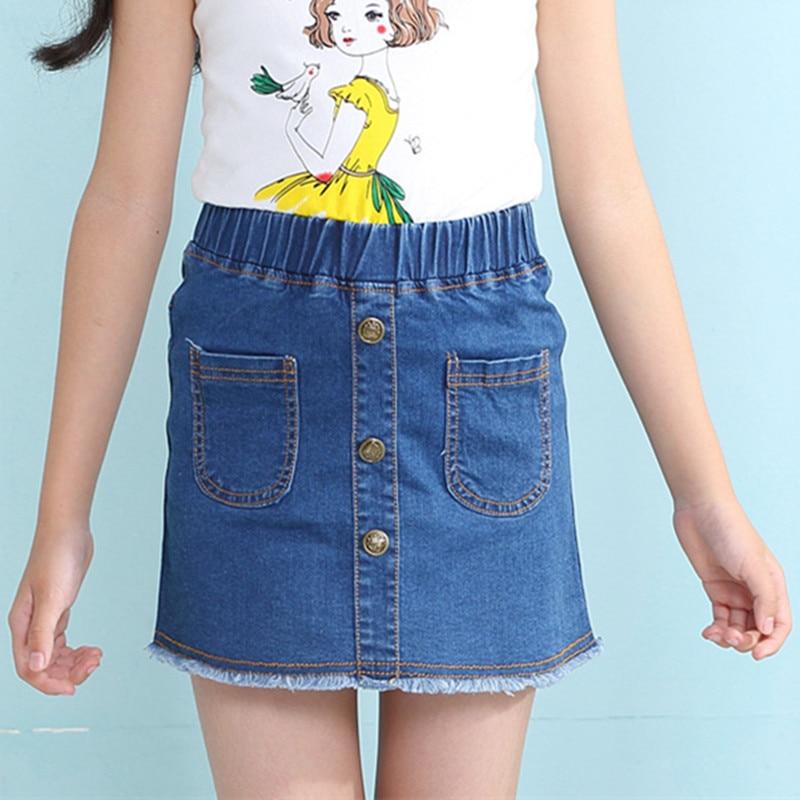 eb48886e46e5 2019 summer children skirts clothing Kids Girls new casual good denim  pockets buttons straight skirt 4