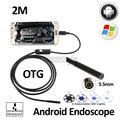 2 М Android OTG Эндоскопа Камера Android Телефон Android USB Бороскоп Гибкая Змея USB Водонепроницаемый Инспекции Труб Камеры 6LED