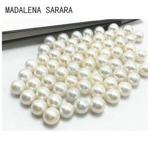 Image 3 - MADALENA SARARA A + Grade Süßwasser Perle Runde Natürliche Weiß Helligkeit Luxus Perle Perle Für DIY Herstellung