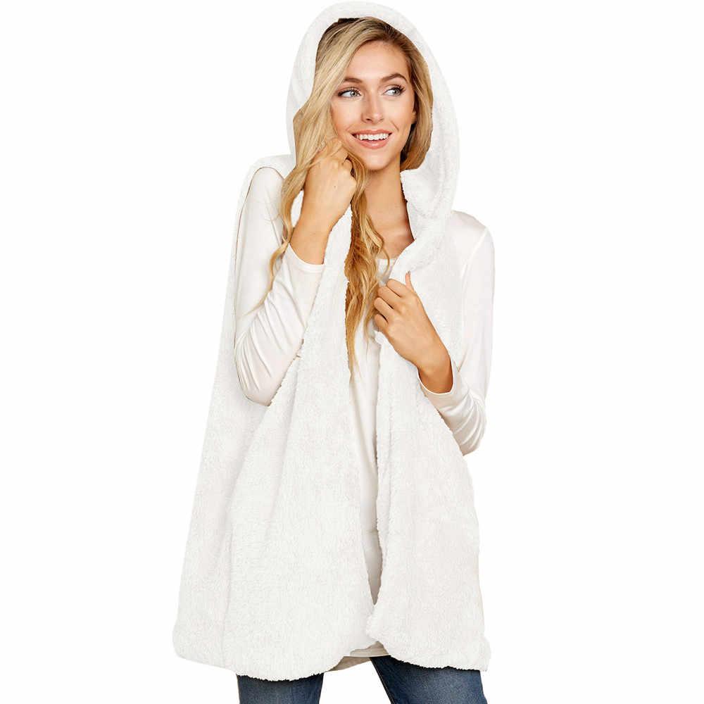 Kadın bayan Faux kürk katı Hoodie kolsuz sıcak yelek yelek dış giyim Tops kadın uzun kollu dış giyim kısa ceket
