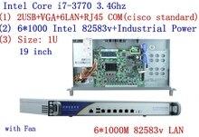 vpn firewall Quad Core i7 3770 1U network Firewall router appliance hardware with 6*1000M 82583V Gigabit