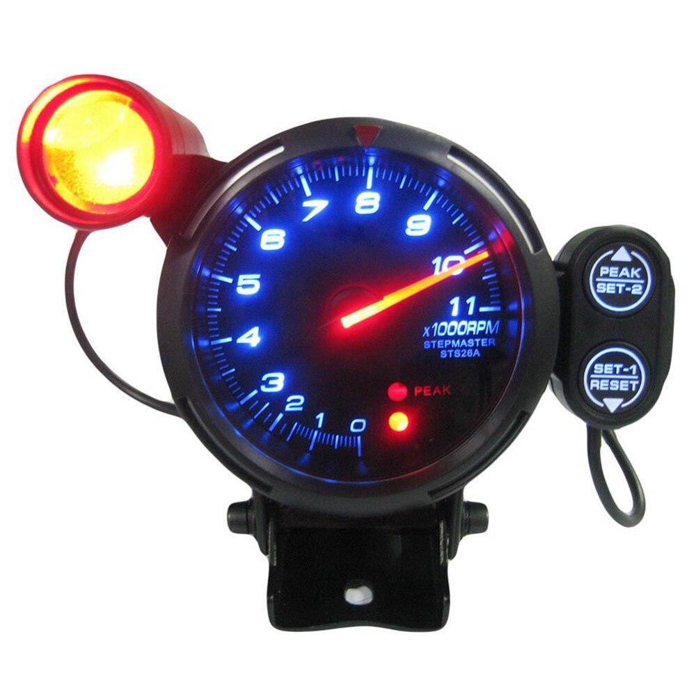 Automobile Voiture 3.5 Pouces 0-11000 RPM Compte-Tours Jauge Kit Bleu LED avec Réglable Léger Décalage et Moteur pas à pas
