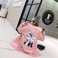 2xl além big size casacos mulheres primavera outono inverno 2017 feminina rosa bonito doce dos desenhos animados impressão trench coat feminino A2687
