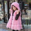 2016 New Natural Fox Fur Vest with a hood real fox fur coat outwear