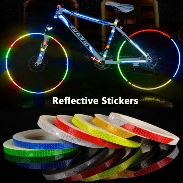 2P 1cm*8m Reflective Stickers Decal Tape For Motorcycle Bicycle Reflector Bike Cycling Security Wheel Rim Fluorescent Waterproof