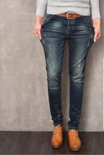 2016 новая мода мужчин джинсы известная марка дизайн мужские рваные джинсы slim fit байкер джинсы