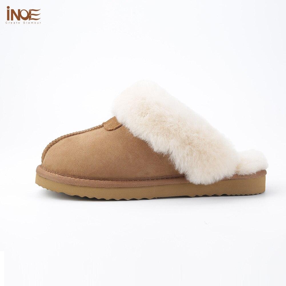 INOE en peau de mouton en cuir doublé de fourrure femmes maison chaussures pantoufles d'hiver en suède intérieur maison chaussures pour femme demi pantoufles de haute qualité - 2