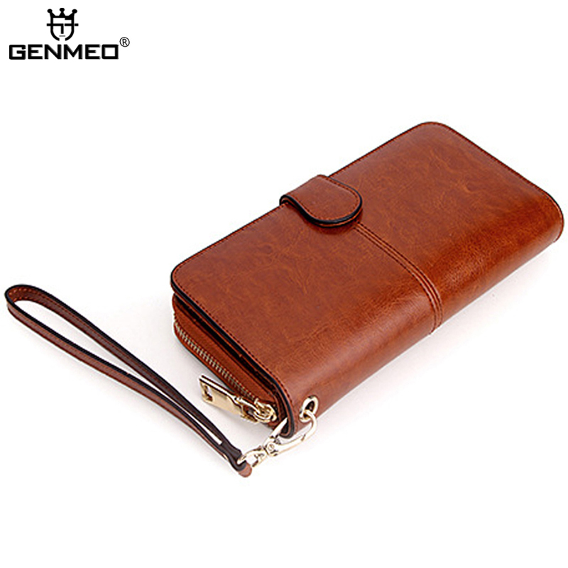 GENMEO Real Leather Wallets Women Clutch Money Bag Female Genuine Leather Wallet Ladies Coin Purse with Card Holder Bolsa dudini new arrived flowers printing women wallet fashion hit color clutch purse ladies coin and money card holder wallets bag