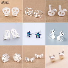 SMJEL New Multiple Earings Fashion Jewelry	Ghost Skull Bowknot Cat Stud Earrings for Women Anti-allergic Snowfalke Earring bijou