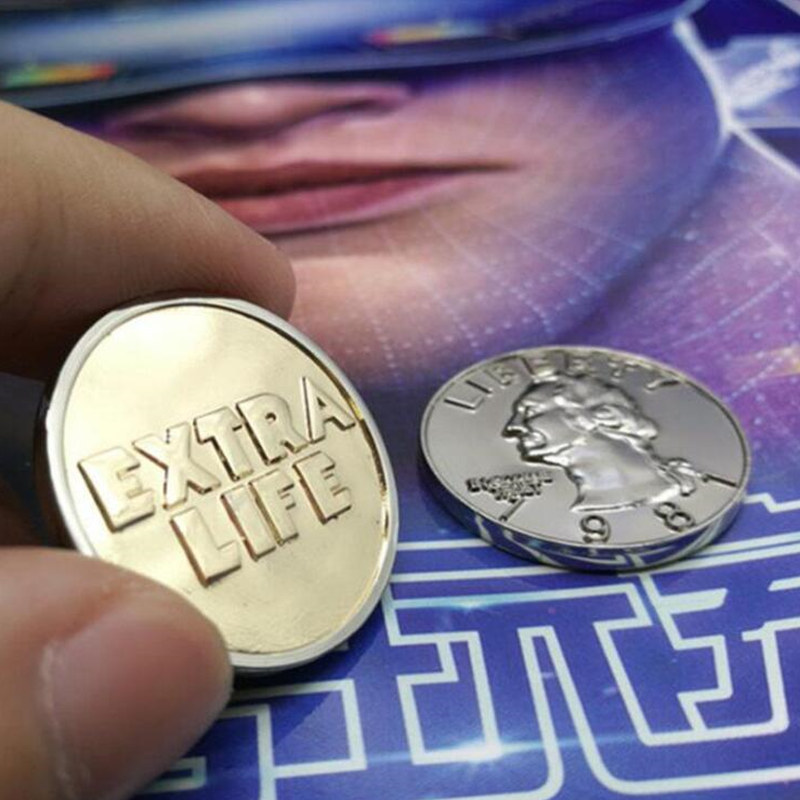 Ready Player One Extra Life Coin Quarter Cosplay Prop Commenorative Coin 2018 1pc Cosplay Collection Gift Toy Action for Fans