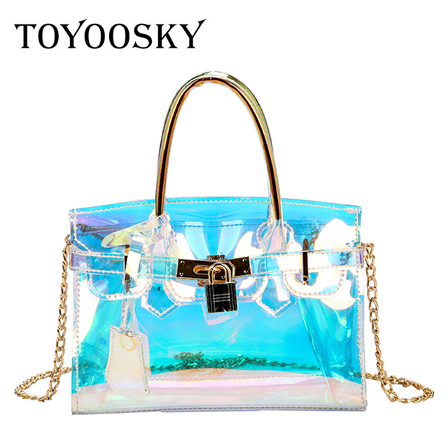 689d7c02c140 TOYOOSKY Clear Transparent Holographic Laser Bag Women Handbag Summer Beach  Bags Lock Saffiano Tote Chain Ladies