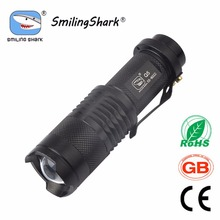 300 Lumens Mini Flashlight Torch, Ultra Bright CREE LED Flashlights, 3 Modes Adjustable Focus Zoomable Light Lamp, Black