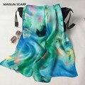 Женщины мода шелковые шарфы жоржет сатин