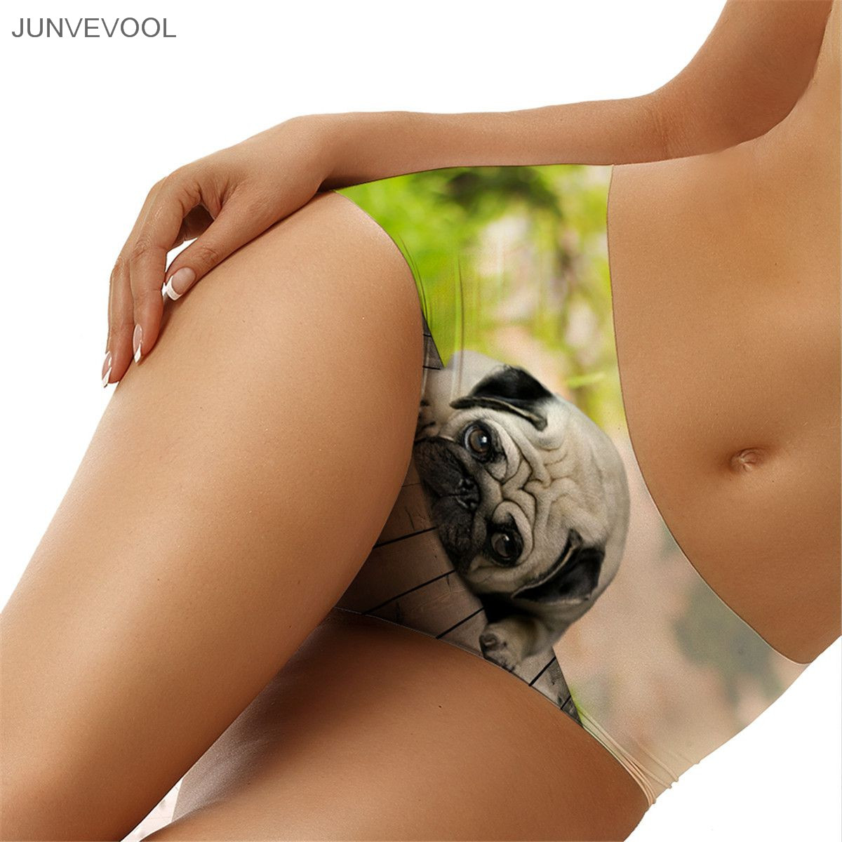 Buy Panty Sexy Women Lady Shorts Pants Middle Waist 3D Tattoo Shar Pei Dog Print Panties Briefs Knickers 2018 Lingerie Underwear