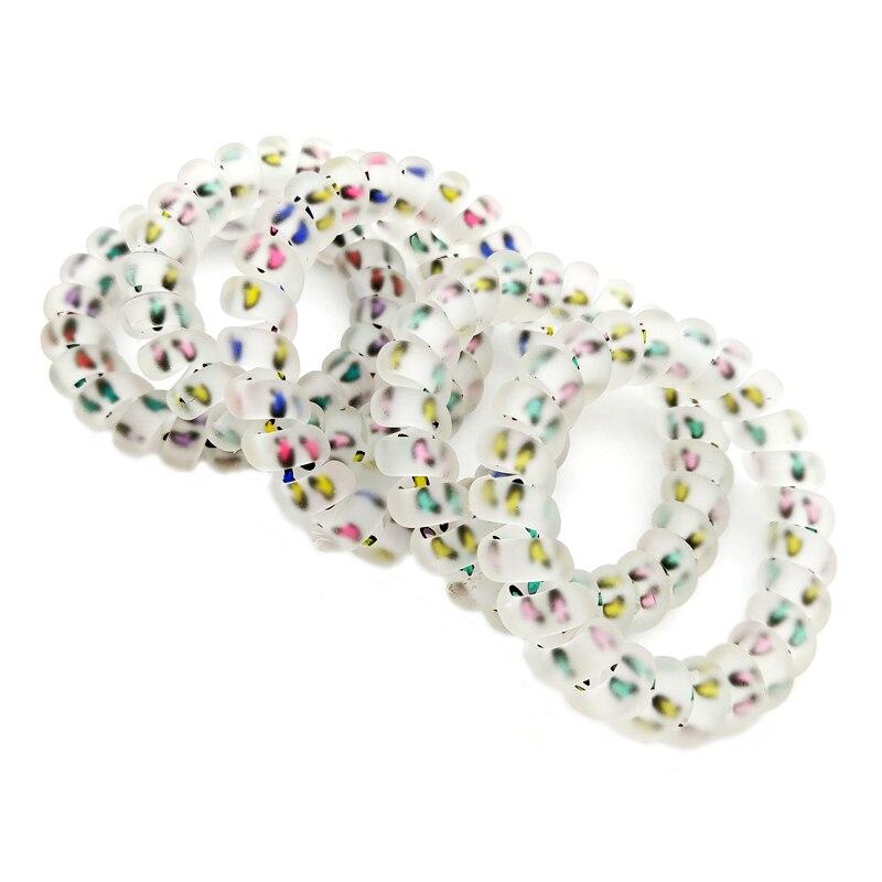 5pcs/lot 5.5cm Lepord Design Hair Accessories Telephone Cord Phone Plastic Strap Hair Band Hair Rope Hair Ties Headbands