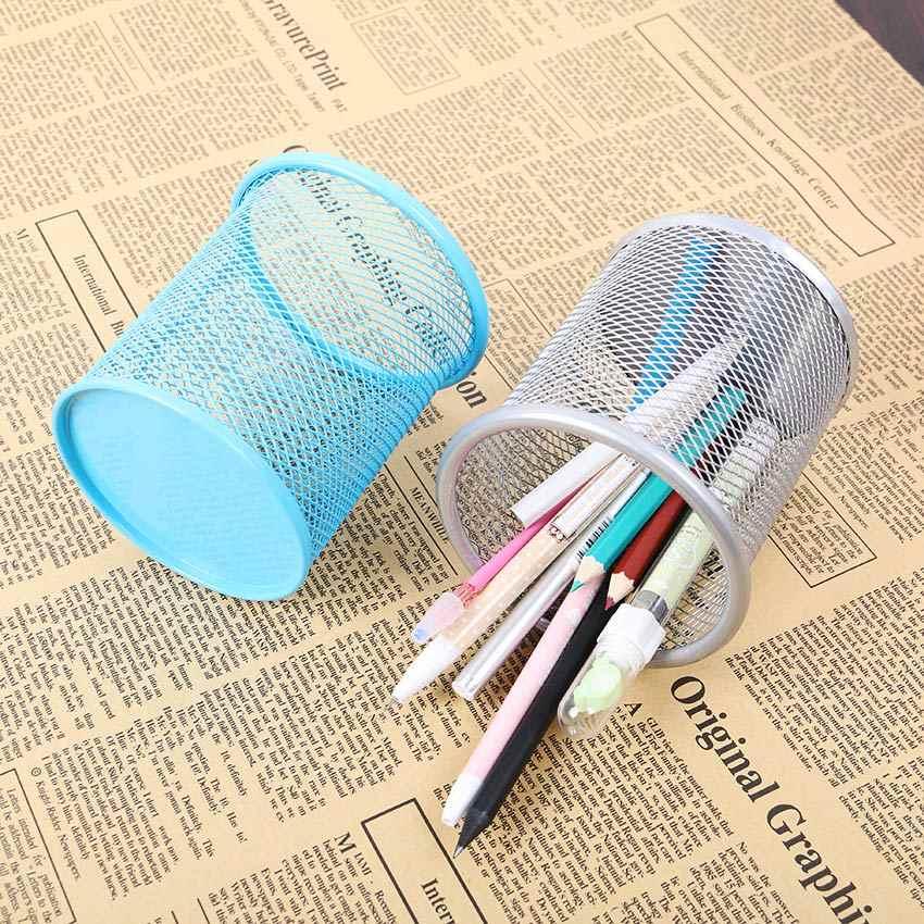 1PC 中空ペン鉛筆ポットホルダーコンテナオーガナイザー金属有刺鉄線ラウンドペンホルダー学校事務用品 5 色