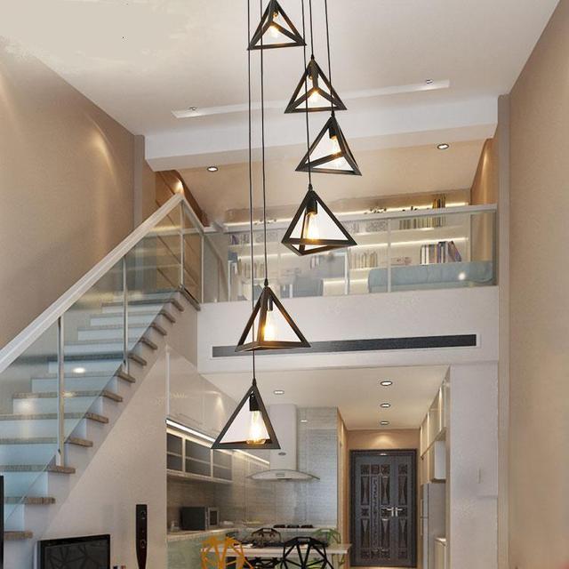 Escalier Simple escaliers lumières simple lampe moderne rotatif escalier pendentif