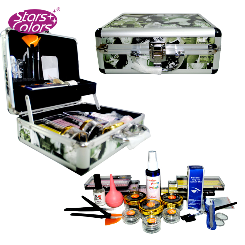 Professional Double Layer Beauty Grafting False Eyelash Extension Kit Makeup Set With Green Silver Case Suitable