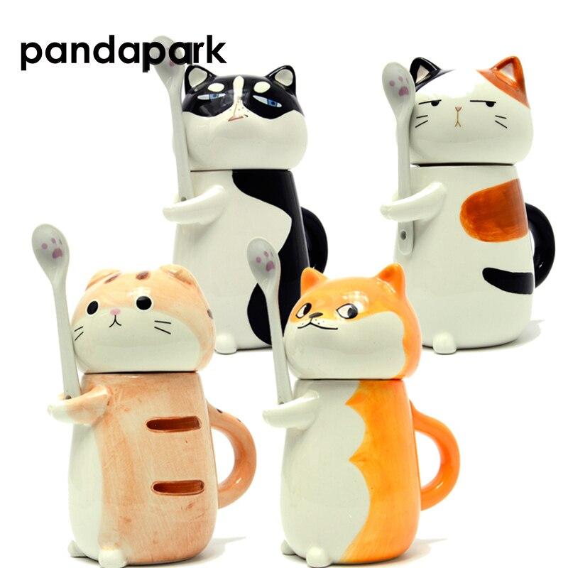 Pandapark Cute Creative Cartoon Coffee Mug Ceramic Personality Cup with Spoon Office Milk Coffee Tumbler Breakfast Mug PPX015 kawaii cats and dogs