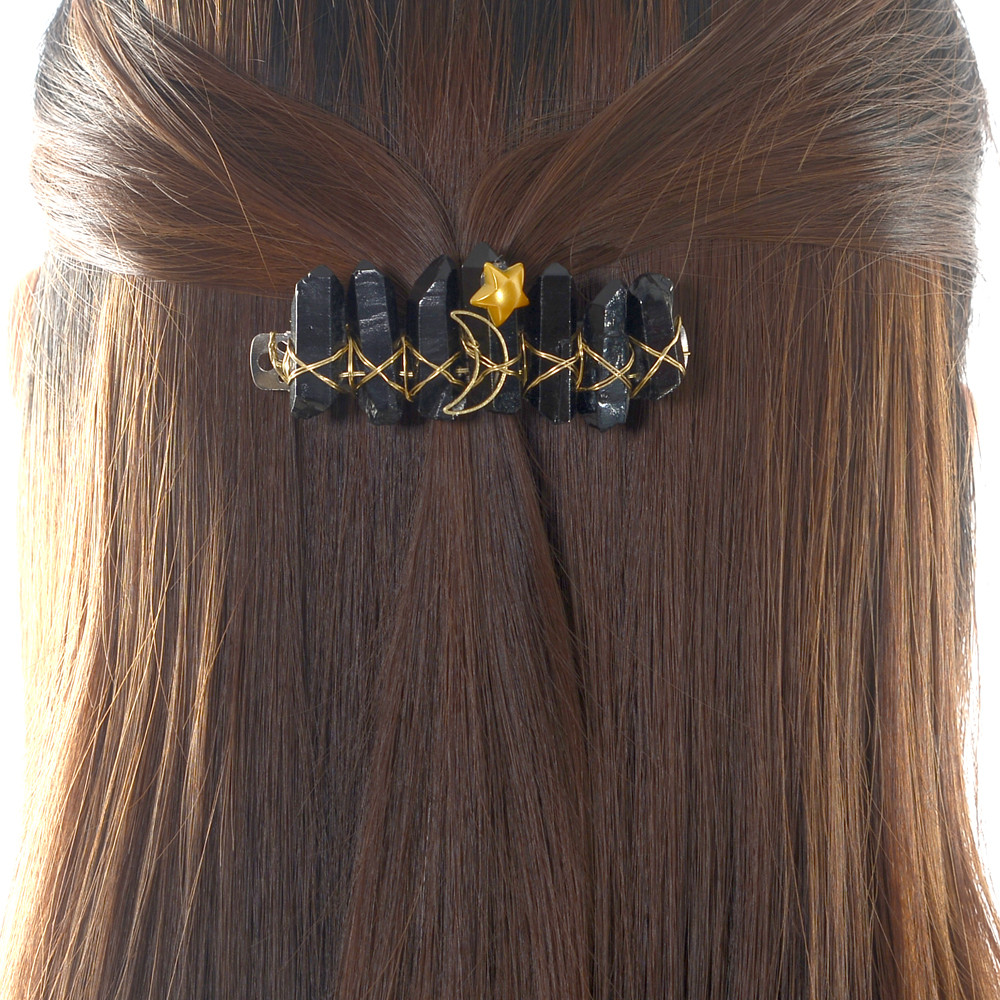 Raw Crystal Quartz Hair Barrette Natural Aura Titanium Quartz Black Crystal Hair Barrette Pin Bridal Hair Crown Accessories