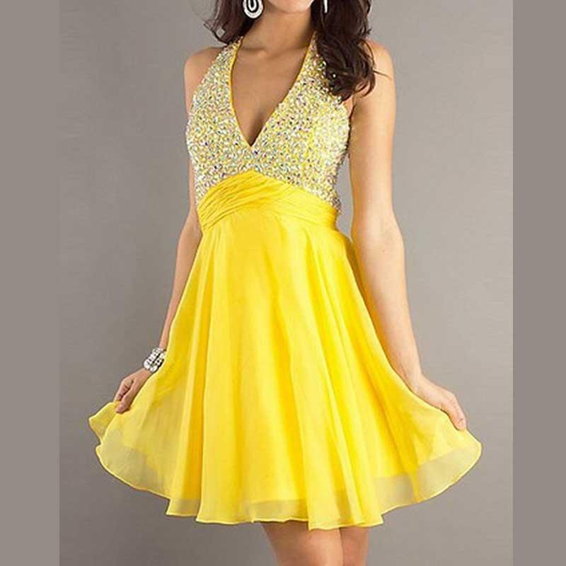 Sexy New 2019 Vestidos De Festa A Line Strapless Ruffle handmade Gowns Yellow V Neck Mini Beadwork New Fashion bridesmaid Dress in Bridesmaid Dresses from Weddings Events