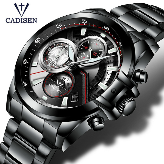 2017 Men's Watch CADISEN Top Brand Luxury Casual Military Sport Wristwatch Bracelet Full Steel Male Clock Relogio Masculino