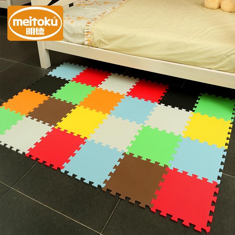 Meitoku Baby EVA Foam Play Puzzle Mat/ 18,24or36/lot Interlocking Exercise Tiles Floor Carpet Rug For Kid,Each 32X32cm,1cmThick