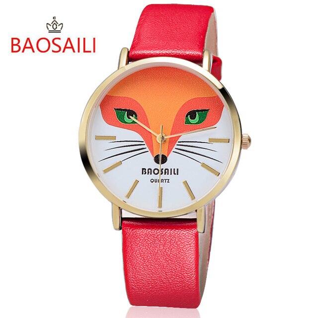 74ae078eda1 BAOSAILI Raposa de Alta Qualidade para Mulheres de Couro Relógio de Pulso  de Quartzo Relógios Vestido