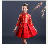 New Chinese National Style Girls Christmas Dress Long Sleeve Red Cheongsam Kids Party Dresses Turtleneck Chinese