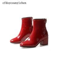 Hot sale Black B Red Women Ankle Boots Ladies Dress Shoes High Square Heels BA HFL 2516 Plus Big Size 10
