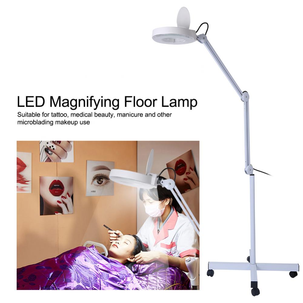 Professional Stand Makeup Lamp LED Floor Lamp 8x Magnifying Tattoo Lamp Adjustable Height Cold Light Reading Beauty Salon Tools highquality 220v 8x circline led lamp magnifying glass cold ligth operation floor shadowless lamp magnifier for beauty salon