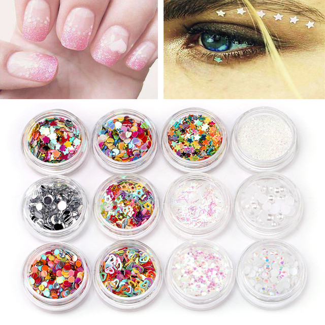 Mixed Sequins Nails Eye Shadow Makeup Beauty 12pc Nail Art Glitter