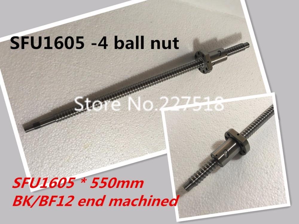 BallScrew SFU1605 -4 ball nut 550mm ball screw C7 with 1605 flange single ball nut BK/BF12 end machined CNC Parts 16mm 1605 ball screw rolled c7 ballscrew sfu1605 950mm with one 1500 flange single ball nut for cnc parts