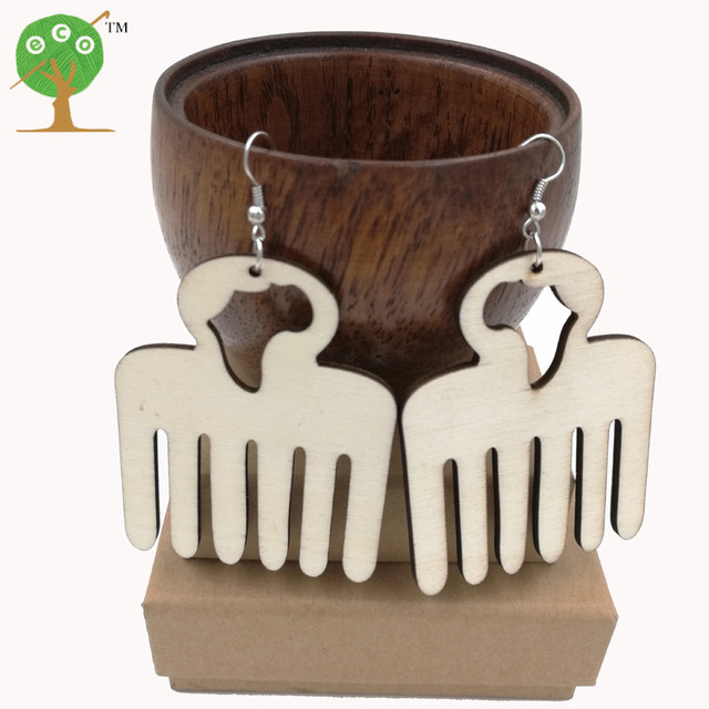 10 pairs african map comb earring unfinished natural ply wood AFRO pick unique big huge punk earring ER766